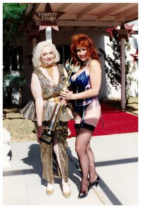 Dixie Evans and Stephanie Blake with her trophy as Miss Exotic World