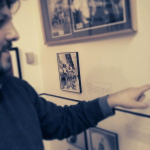 Executive Director Dustin M. Wax showing off a piece in our permanent exhibition