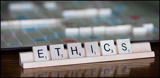 "Scrabble tiles spelling ""ethics"""