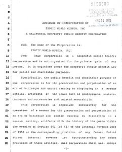 Exotic World Articles of Incorporation - Page 1