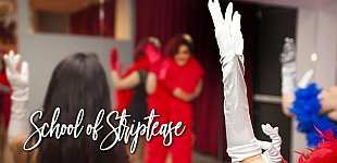 School of Striptease: A gloved hand in foreground, students dancing in background