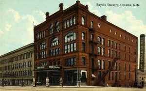 Postcard featuring Omaha's Boyd Theater, late 19th c. (Omaha Public Library Special Collections)