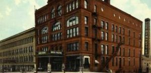 Detail of postcard showing Omaha's Boyd Theater c. 1890