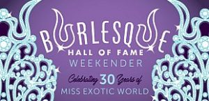 "Image of rhinestoned crown on purple background with text ""Burlesque Hall of Fame Weekender: Celebrating 30 Years of Miss Exotic World"""