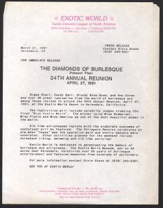 Press Release for the 1991 Miss Exotic World Pageant