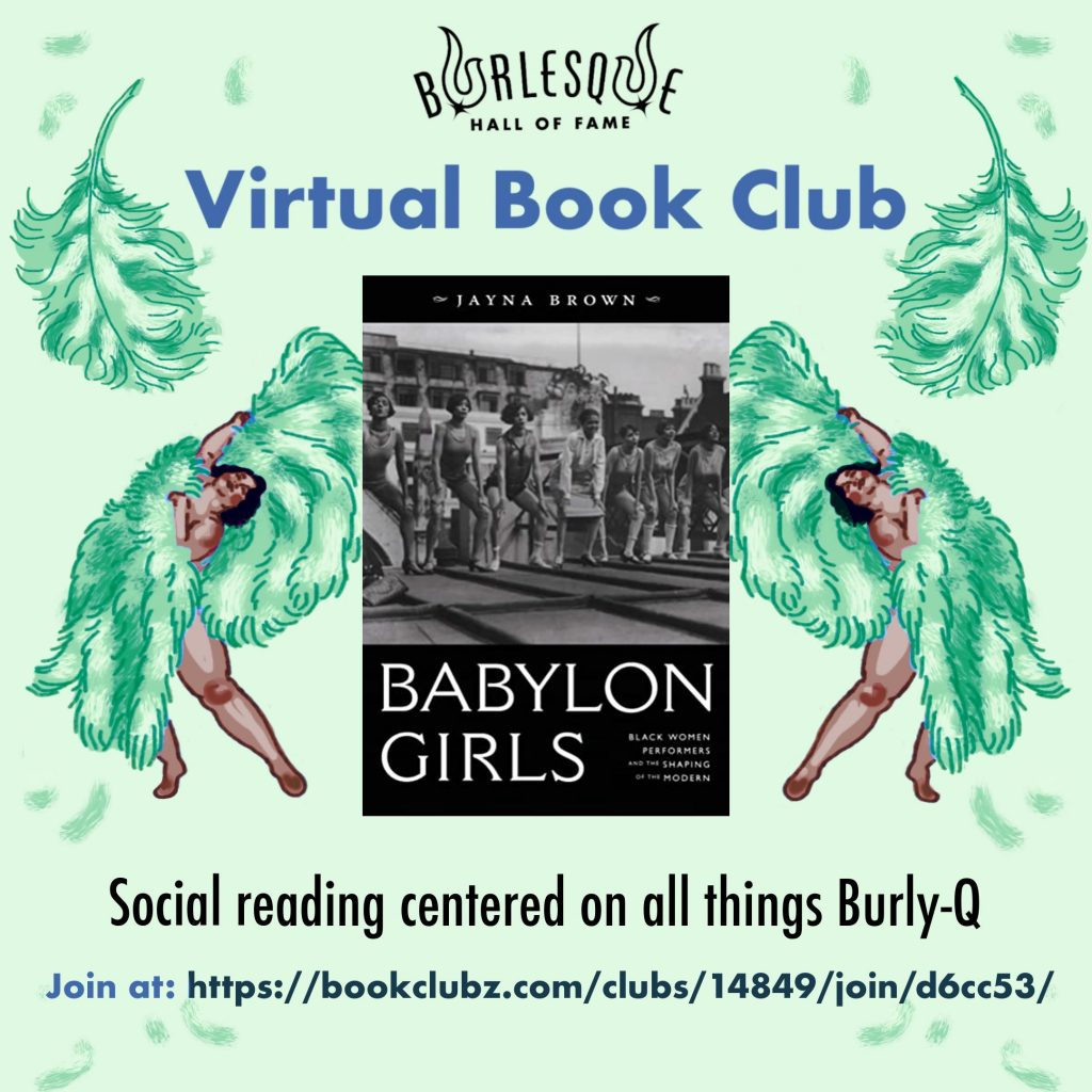 """Green background with two fan dancers waving green fans, framing an image of the cover of """"Babylon Girls"""". Text reads """"VIrtual Book Club: Social reading centered on all things Burly-Q"""""""