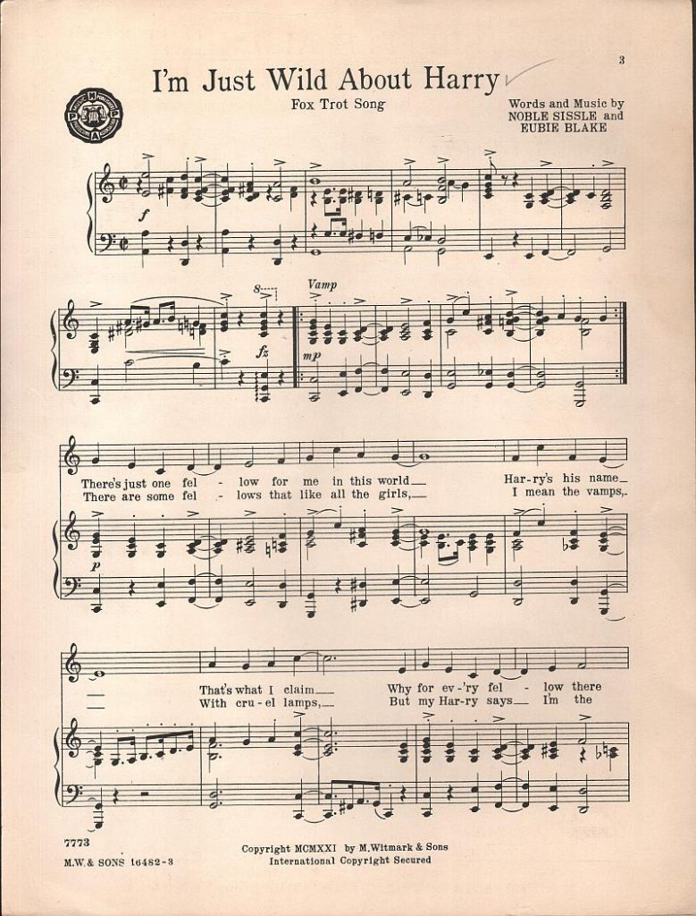 "First page of printed sheet music for ""I'm Just Wild About Harry"""